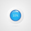 10 percent blue white pie chart. Percentage vector infographics. Ten Circle diagram isolated symbol. Business illustration icon for marketing presentation, project, data report, plan, web design