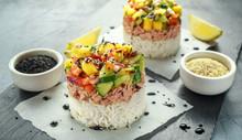 Tuna Sushi Stacks With Mango, Cucumber, Tomatoes Salsa Served With Balsamic Vinegar, Nigela Ans Sesame Seeds