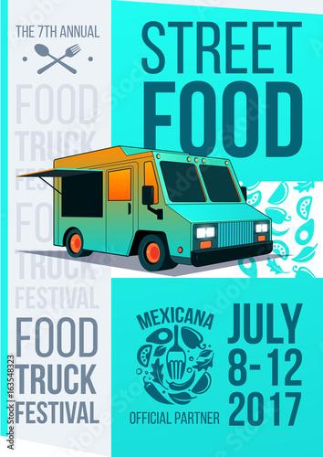 Food Truck Festival Brochure Vector Poster Template Design Street Concept Menu Flyer