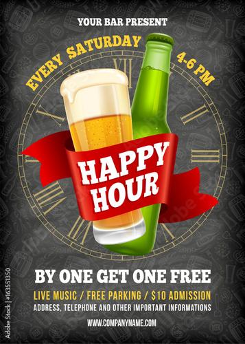 Obraz na plátne Happy Hour Poster Template