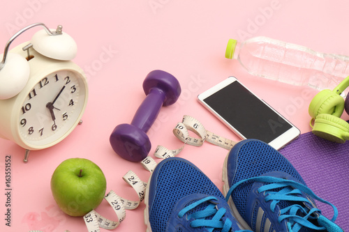 Fotografia, Obraz  sport, fitness, healthy lifestyle and Accessories for sports, lying on the floor