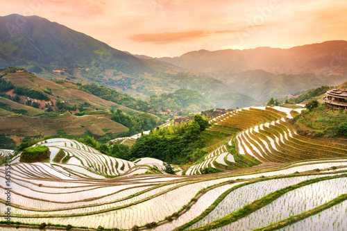Poster Rijstvelden Sunset over terraced rice field in Longji, Guilin in China