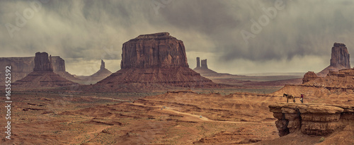 desert landscape with horse in Monument Valley, USA Wallpaper Mural