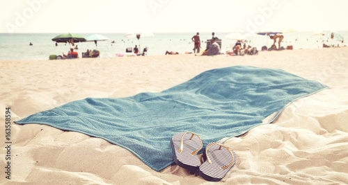 Fotografia  towel of free space on beach