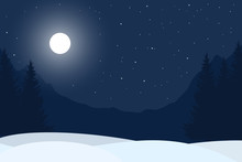 Realistic Vector Illustration Of Winter Night Mountain Landscape With Forest Under Blue Sky With Stars, With Space For Text