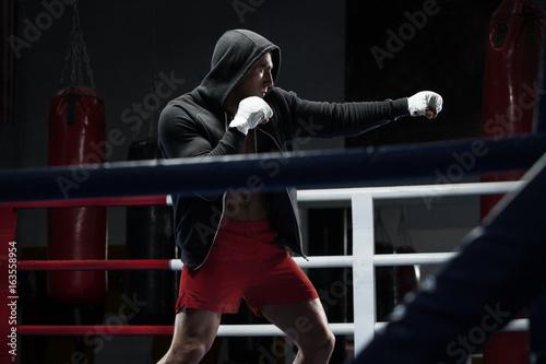 Plakat Bokser człowiek trening w ringu bokserskim. Bokserski wojownik w bluzie z kapturem