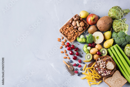 Foto op Plexiglas Assortiment Selection of healthy rich fiber sources vegan food for cooking