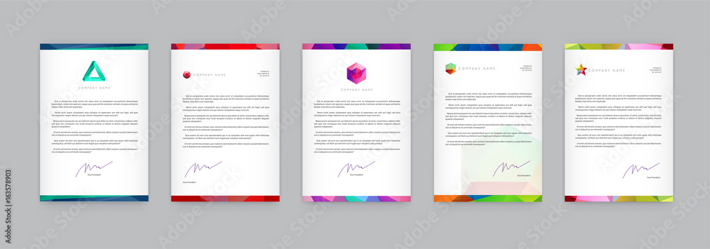 Fototapeta Set of Visual identity with letter logo elements polygonal style Letterhead and geometric triangular design style brochure cover template mockups for business with Fictitious names
