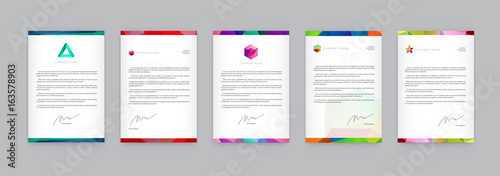 Obraz Set of Visual identity with letter logo elements polygonal style Letterhead and geometric triangular design style brochure cover template mockups for business with Fictitious names - fototapety do salonu