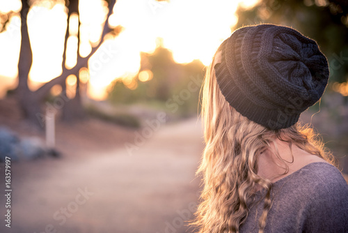 Fotografie, Obraz  Female Model wearing beanie during fall/winter