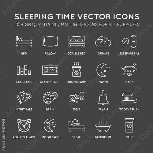 Set of Minimal Sleep Time Vector Line Icons Canvas Print