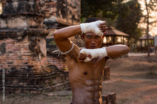The man Thai boxing,Thai boxing vintage style,Thailand. Wallpaper Mural