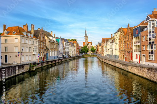 Wall Murals Bridges Bruges (Brugge) cityscape with water canal