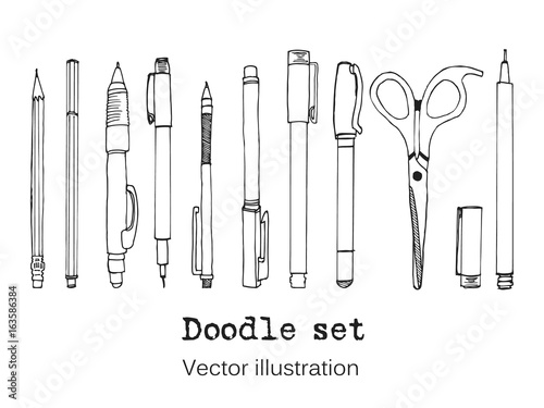 Fotografía  Isolated set of stationery hand drawn in cartoon style