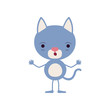 colorful caricature of cute kitten astonished expression vector illustration