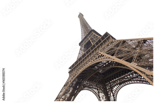 Photo sur Aluminium Tour Eiffel Eiffel tower isolated on white background in Paris, picture for the ideas of designers
