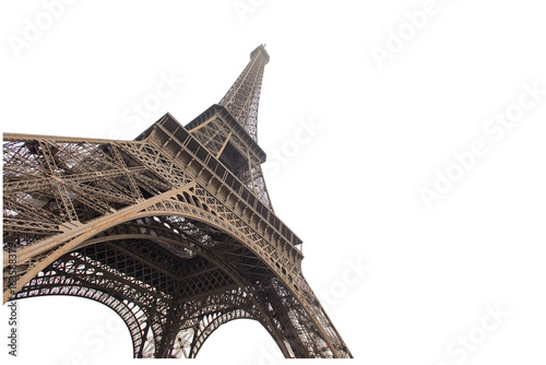 Foto op Aluminium Eiffeltoren Eiffel tower isolated on white background in Paris, picture for the ideas of designers