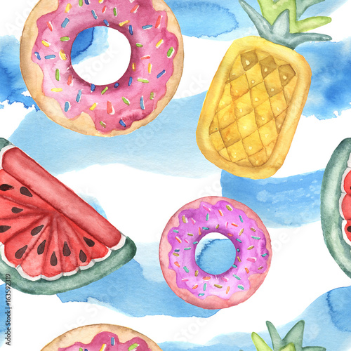 Cotton fabric Watercolor seamless pattern with pool floats. Hand painted air toy and water isolated on white background. Donut, pineapple and watermelon toys. Vacation illustration. For design, print or background.