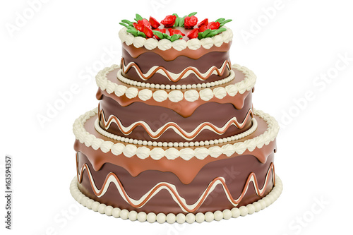 Chocolate Birthday Cake 3D Rendering