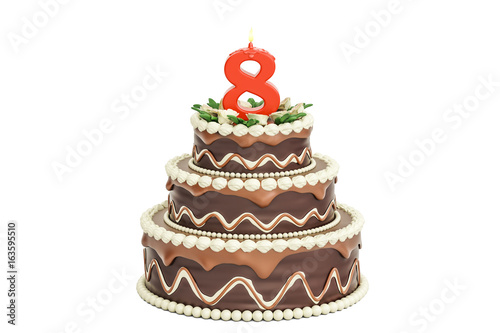 Chocolate Birthday Cake With Candle Number 8 3D Rendering