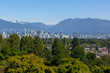 Vancouver BC city skyline from Queen Elizabeth Park in Canada