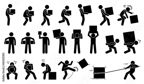 Obraz Man carrying and picking a box in various poses, postures, and positions.  - fototapety do salonu