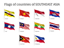 Set Of Waving Flags Of Members Of Asean Economic Community AEC Laos, Thailand And Vietnam, Malaysia And Philippines. Signs Of Southeast Asia States. Vector Isolated Icons