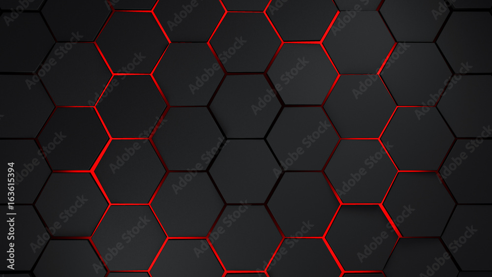 Fototapety, obrazy: grey and red hexagons modern background illustration