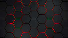 Grey And Red Hexagons Modern B...