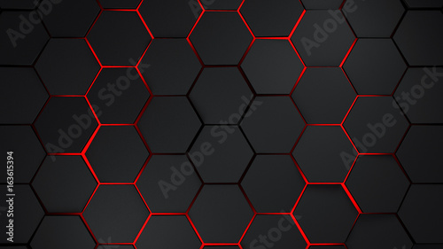 Fototapeta grey and red hexagons modern background illustration obraz