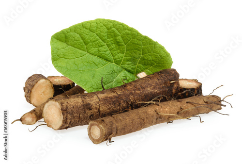 Canvas Print Burdock roots isolated on white background
