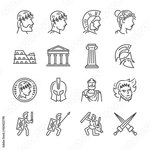 Valokuva Roman empire line icon set