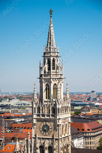 Staande foto Stockholm Tower of the New Town Hall. Marienplatz, Munich, Bavaria, Germany.