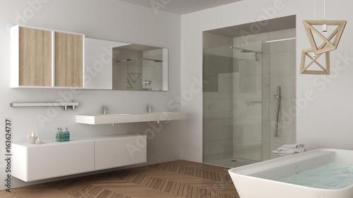 Fototapeta Minimalist bright bathroom with double sink, shower and bathtub, white interior design obraz na płótnie