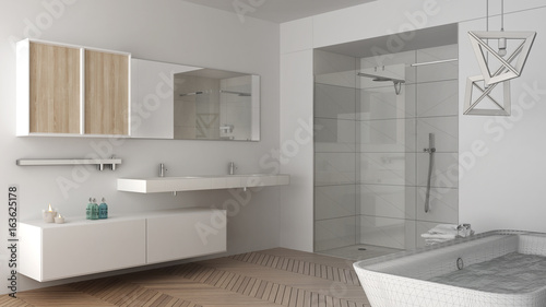 Fototapeta Unfinished project of minimalist bright bathroom with double sink, shower and bathtub, sketch abstract interior design obraz na płótnie