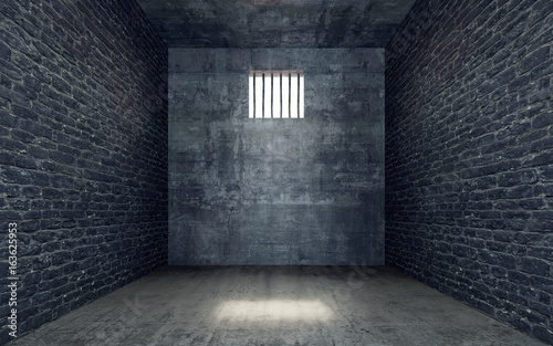 Photo Prison cell with light shining through a barred window 3D Render