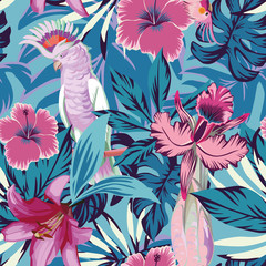 Fototapeta Inspiracje na lato Pink parrot flowers and plants blue background