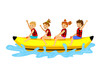 kids children riding banana boat. summer beach time fun activities