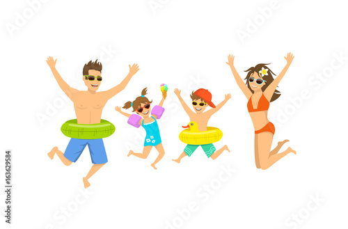 Fototapeta family, man woman boy girl, parent and their children jumping for joy, happy to be on vacations on a beach obraz na płótnie