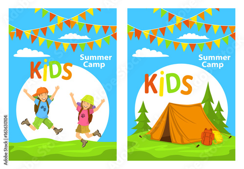 kids camp poster templates with children jumping for joy and campsite with tent, forest and backpacks © Vectorovich