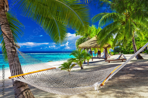 Deurstickers Strand Hammock between palm trees on tropical beach of Rarotonga, Cook Islands, South Pacific