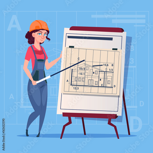 Cartoon female builder explain plan of building blueprint wearing cartoon female builder explain plan of building blueprint wearing uniform and helmet construction worker contractor flat malvernweather Images