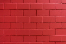 Intensive Red Painted Brick Wall For Background