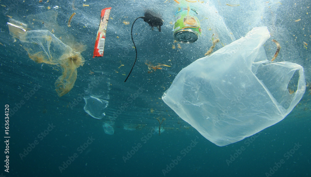 Fototapeta Plastic carrier bags and other garbage pollution in ocean