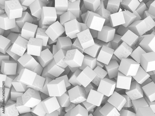 Fototapeta Abstract White Cubes Chaotic Background obraz