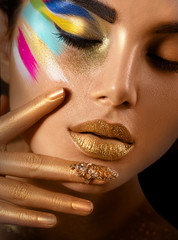FototapetaBeauty fashion art portrait of beautiful woman with colorful abstract makeup