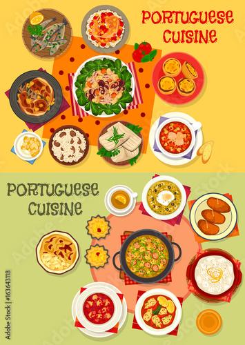 Foto  Portuguese cuisine seafood dinner menu icon set