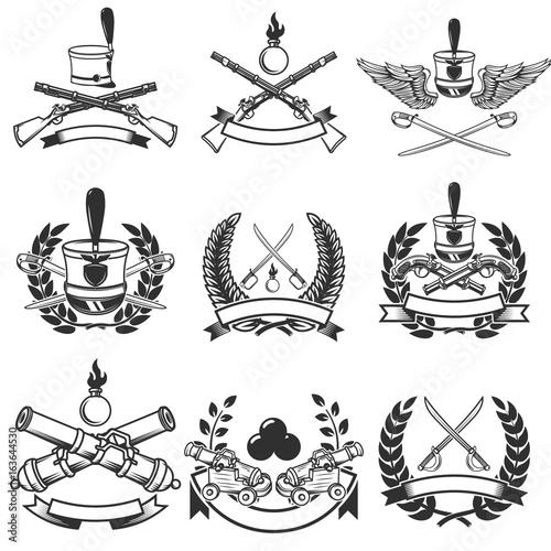 Set of  Ancient weapon emblems Wallpaper Mural