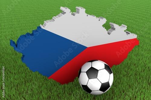 Photo  3D Karte von Tschechische Republik mit Flagge und Fußball