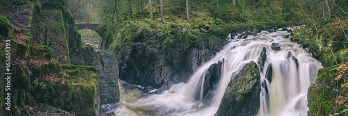 Canvas Prints Forest river Panoramic view of the Black Linn Falls on the River Braan in the Hermitage woodland. Perthshire, Scotland, UK